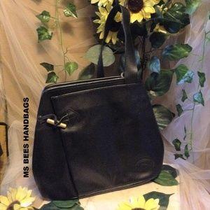 Longchamp black leather backpack bag (#1)